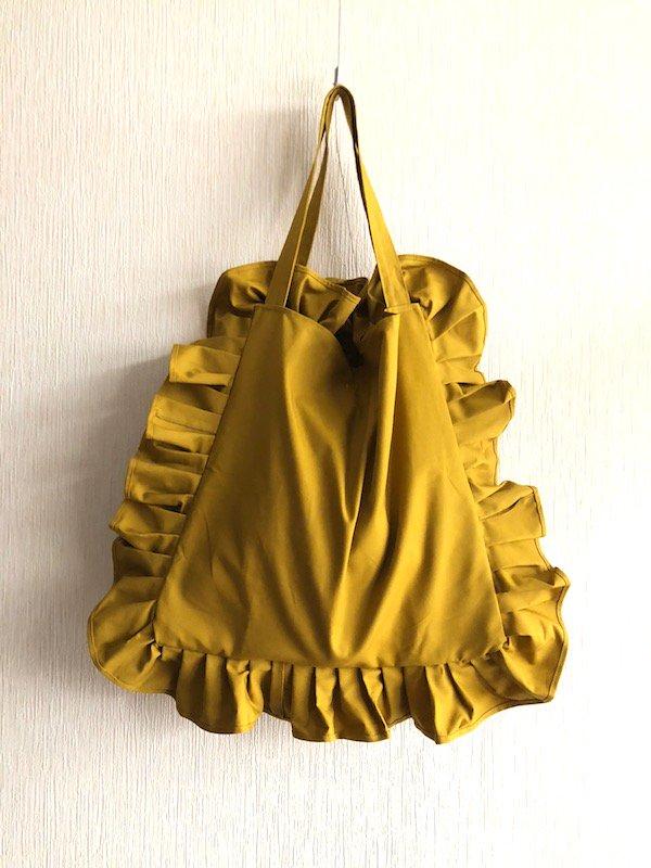 Canvas  Frill Tote Bag  /キャンバス フリルトートバック  (Yellow/ Big)