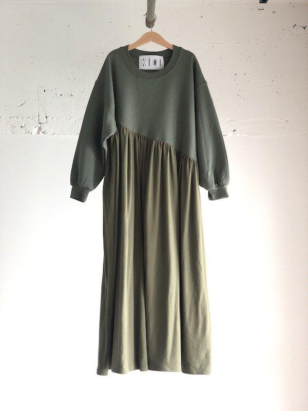 【SALE】KICI Bias Sweat Dress  / バイアス スウェットワンピース  (Kahki)