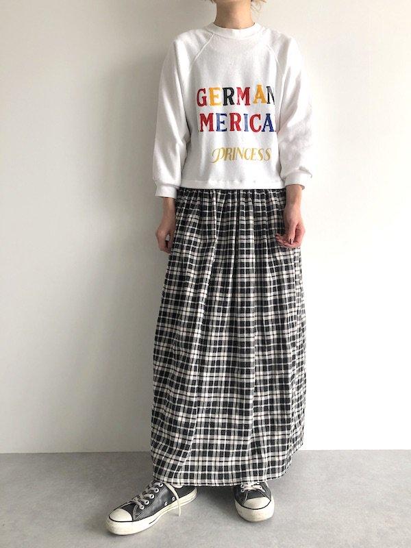 【SALE】Remake Sweat Check Maxi Dress  / リメイク スウェットチェック マキシワンピース  (wht×wht check)
