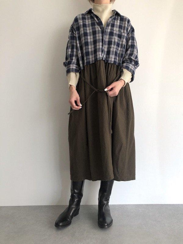 【SALE】Remake Flannel shirt dress / リメイクネルシャツワンピース ( Navy/Khaki )