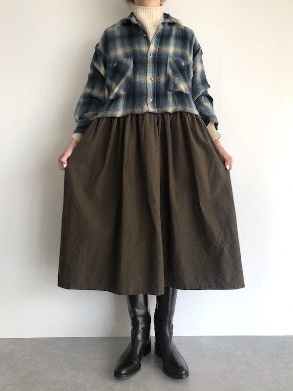 【SALE】Remake Flannel shirt dress / リメイクネルシャツワンピース ( Blue/Khaki )