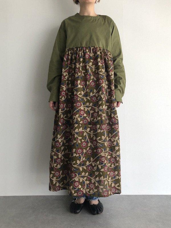 【SALE】Remake Rumania shirt dress / ルーマニア軍 リメイク花柄ワンピース(Aライン)