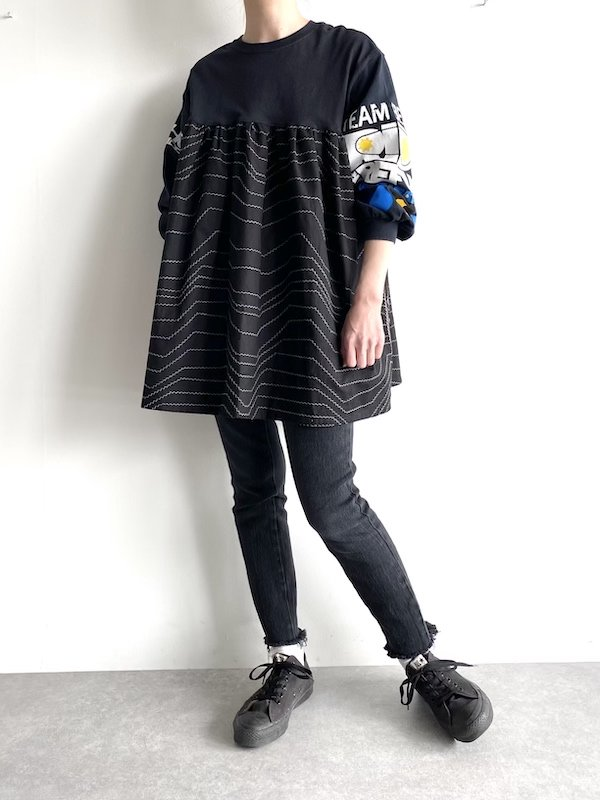 Remake T-shirt  sleeve smog / リメイク Tシャツスリーブ スモッグ (BK)
