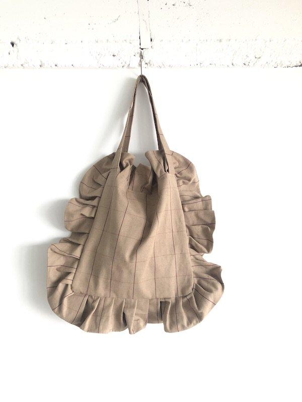 Canvas Tote Bag  / 帆布 フリルバック  Beige Check /  スモール Small size