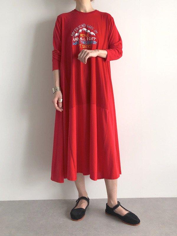 Remake Relax Long Dress / リメイク リラックス ロング ワンピース ( Red )