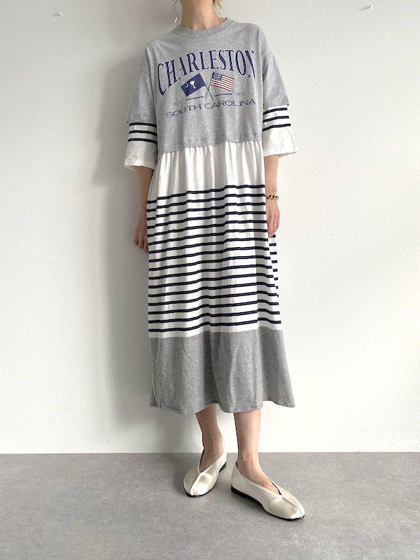 Remake long border loose dress  / リメイクロングボーダー ルーズワンピース(BL)