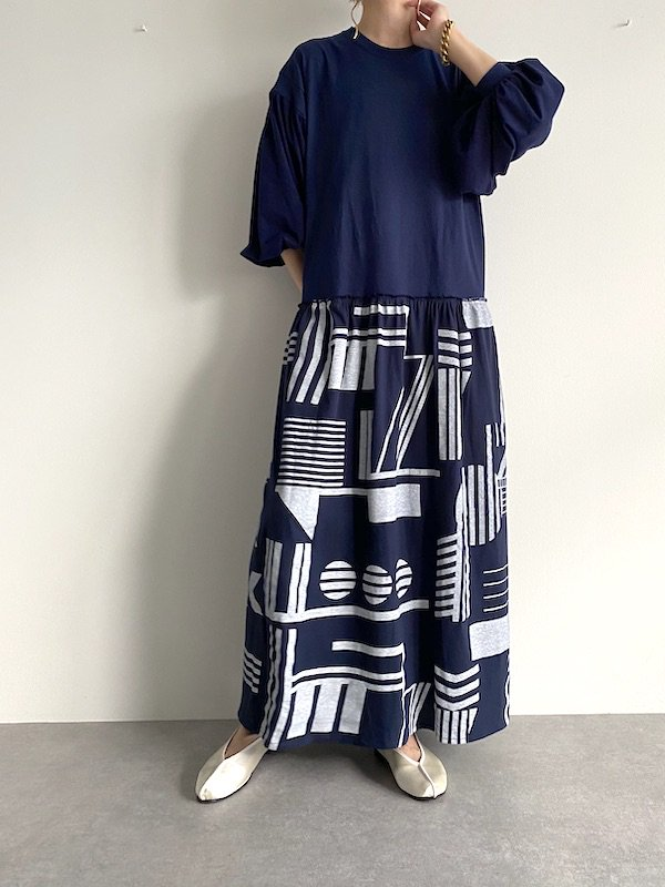 KICI balloon sleeve  maxi Dress  / バルーンスリーブ マキシワンピース ( N-Geometric )