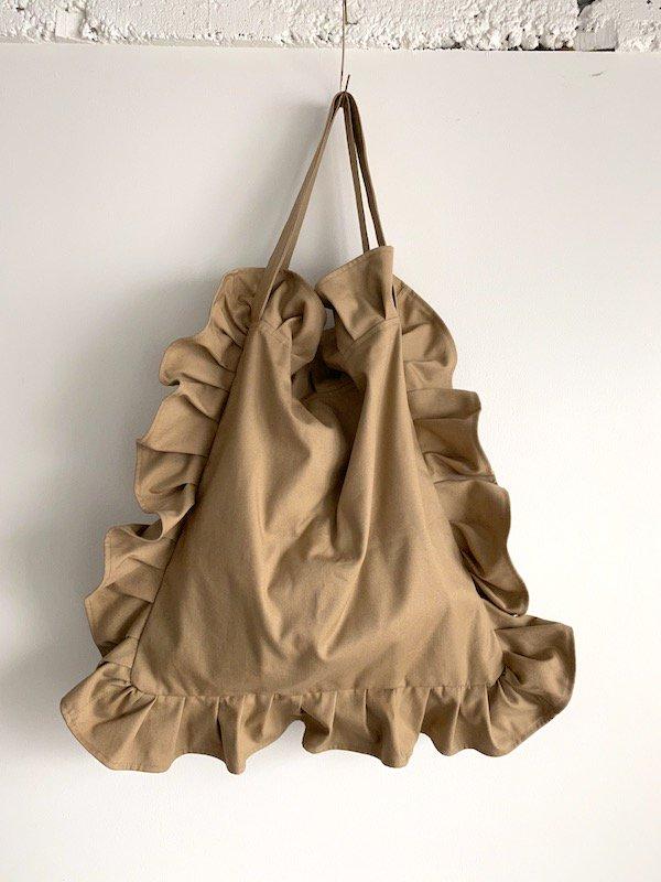 Canvas Tote Bag  / 帆布 フリルバック  Beige  /  ビッグ Big size