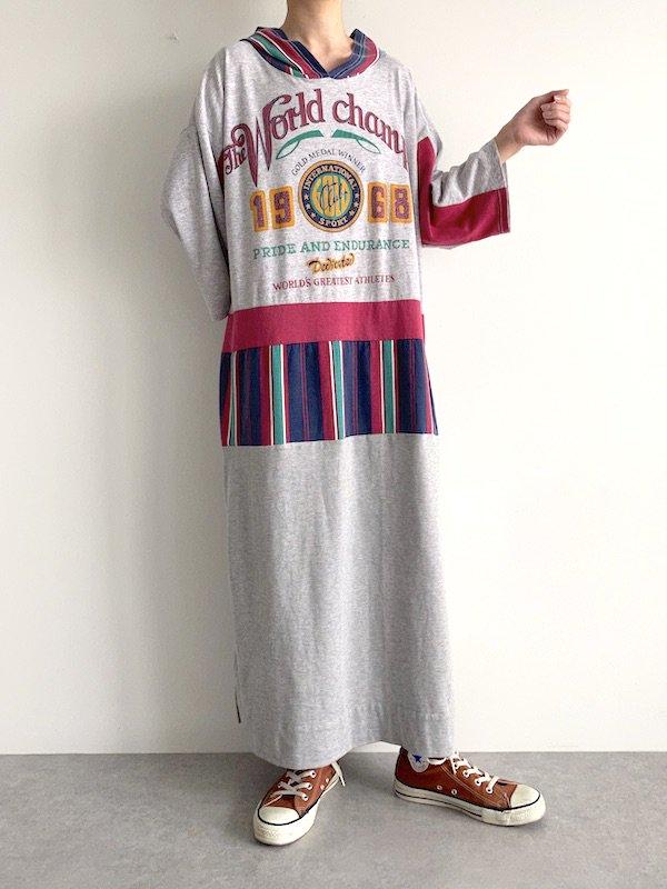 Remake long parka dress  / リメイクロングパーカーワンピース(PK-GY)