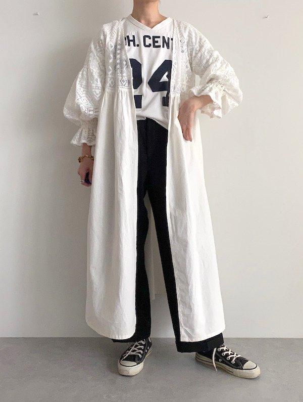 KICI  frill sleeve race gown / フリルスリーブレースガウン (White)