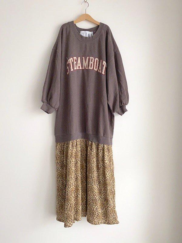 Remake  leopard sweat dress / リメイクスウェットレオパードニットワンピース (BRN)