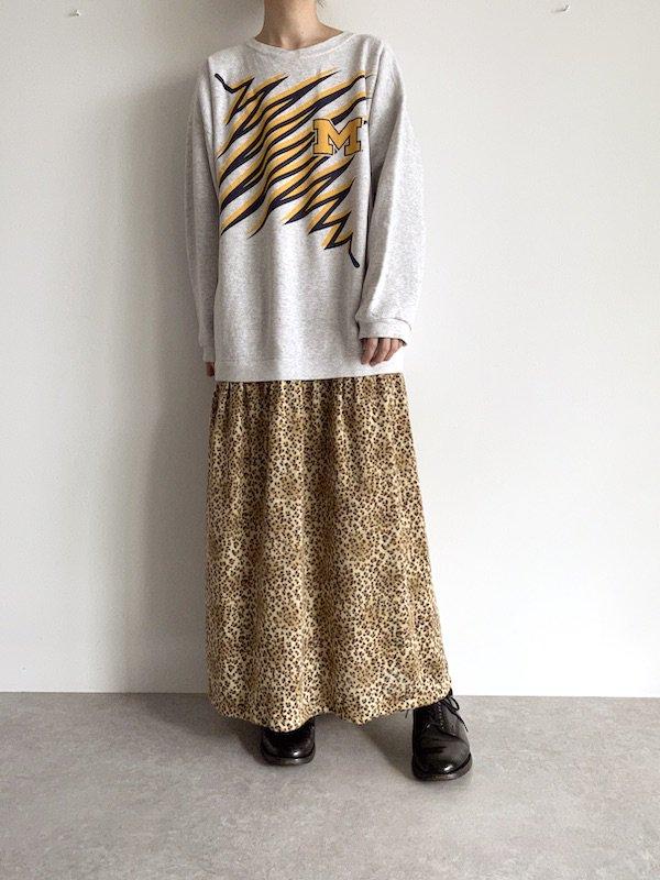 Remake  leopard sweat dress / リメイクスウェットレオパードニットワンピース (l.gry)