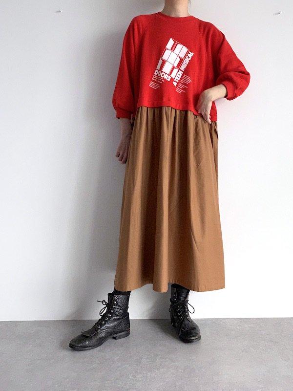 【SALE】Remake  sweat long dress / リメイクスウェットロングワンピース (Red)