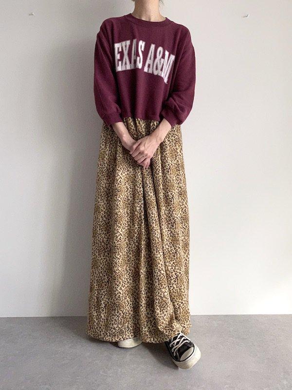 Remake  leopard maxi sweat dress / リメイクスウェットレオパードニット マキシワンピース (D.red)