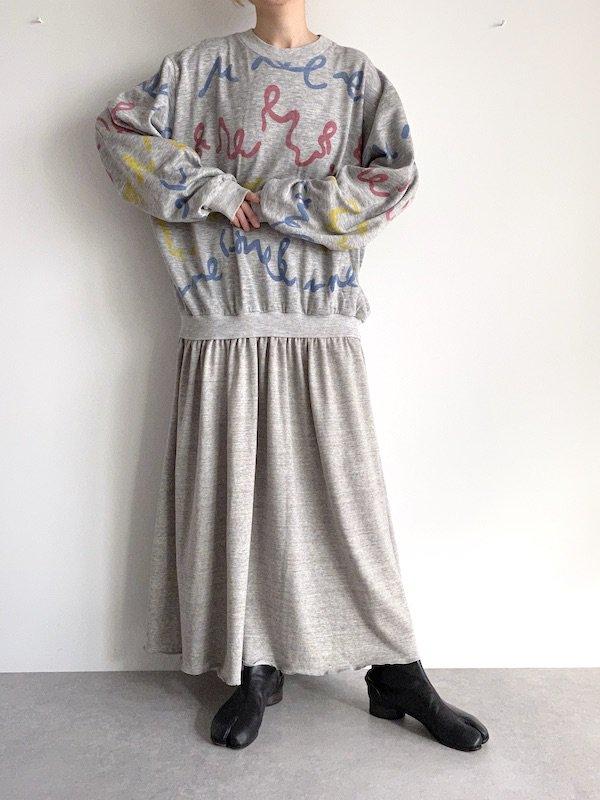 Remake  maxi sweat dress / リメイクスウェットマキシワンピース (Gry)