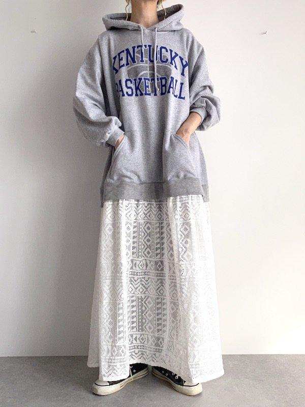 Remake  parka race dress / リメイクパーカ レースワンピース (Gry/wht)