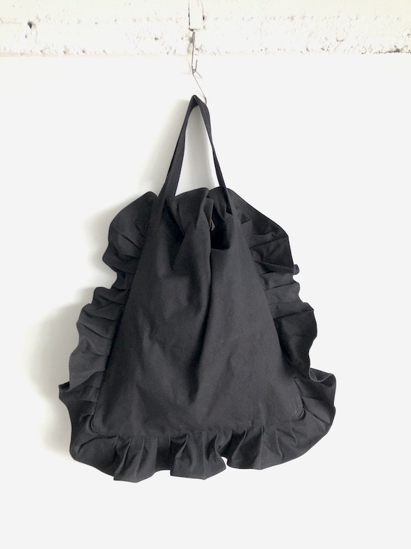 Canvas Tote Bag  Big  / 帆布 フリルバック  大サイズ (Black)