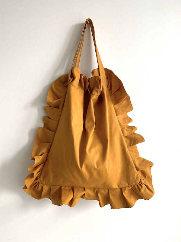 Canvas Tote Bag  Big  / 帆布 フリルバック  大サイズ (mustard)