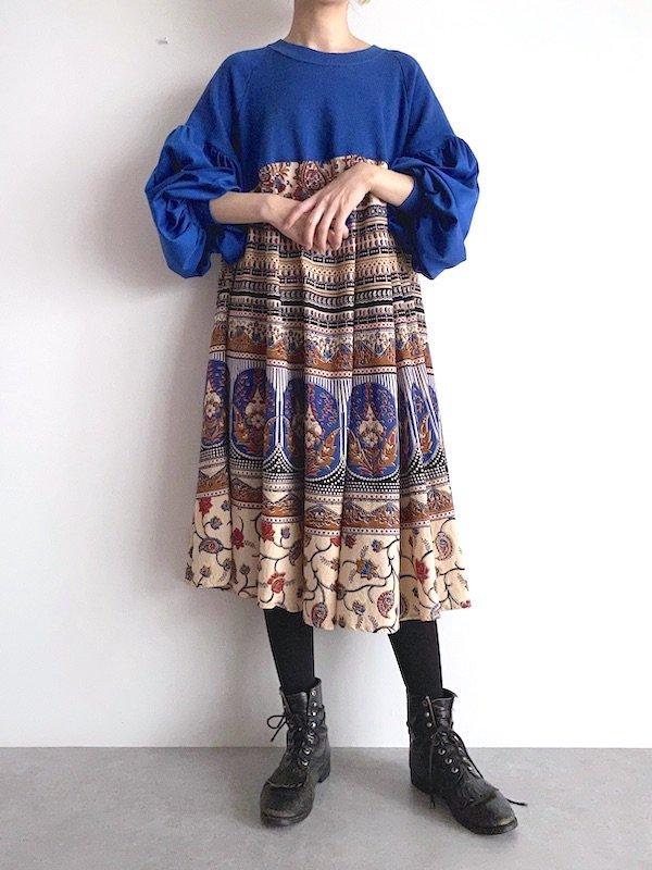 Remake  sweat indian dress / リメイクスウェットインド綿ワンピース (BLUE)