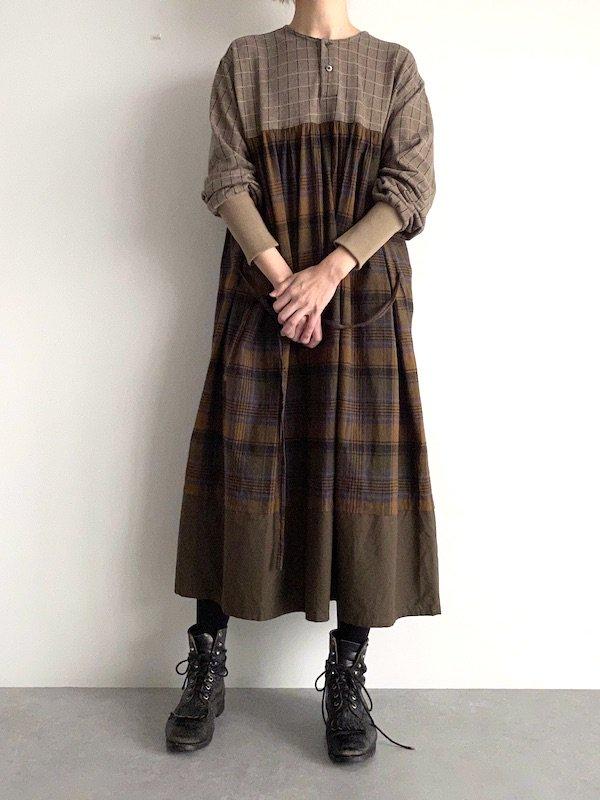 Remake knit dress  / リメイク ニットワンピース(check・BRN)