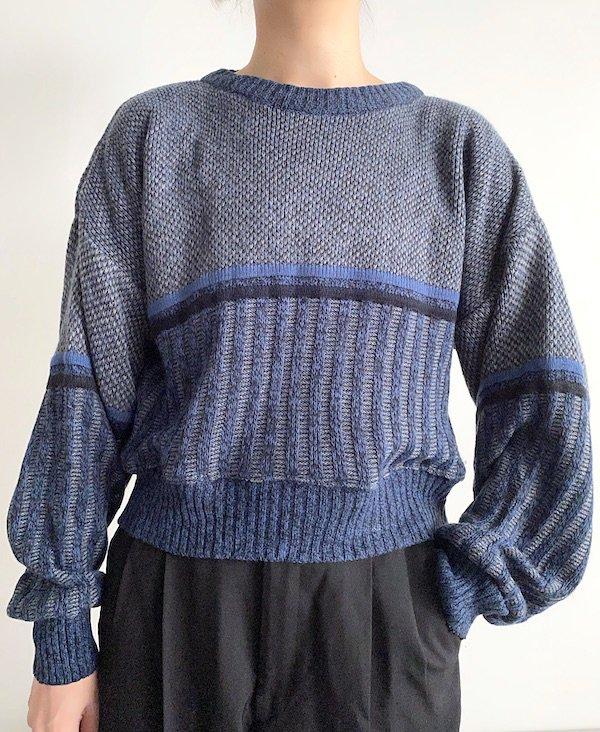 Remake Acryl Knit tops  / リメイク アクリルニット (NV/GY)