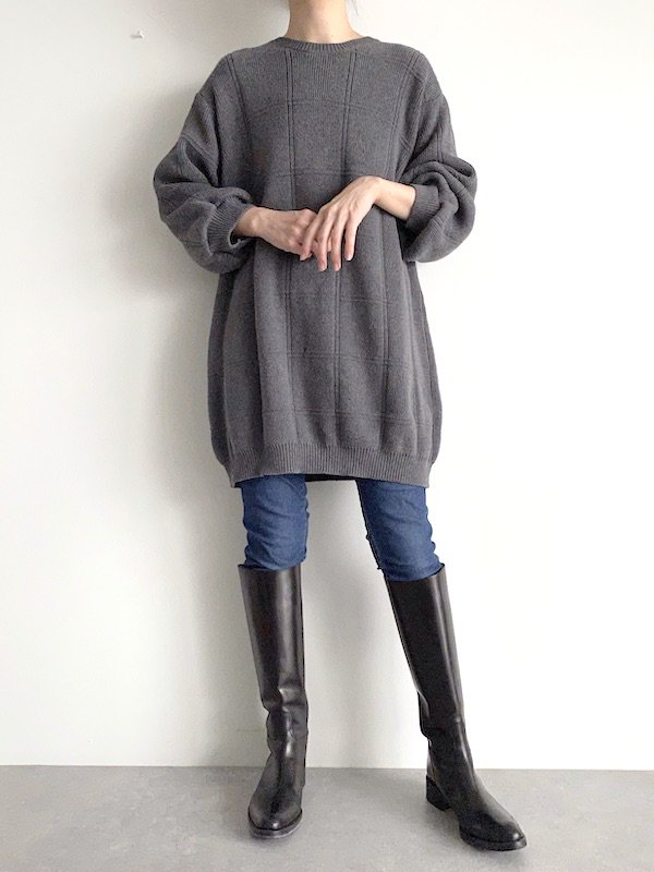 Remake Long Cotton Knit  / リメイク ロング コットンニット(GY)