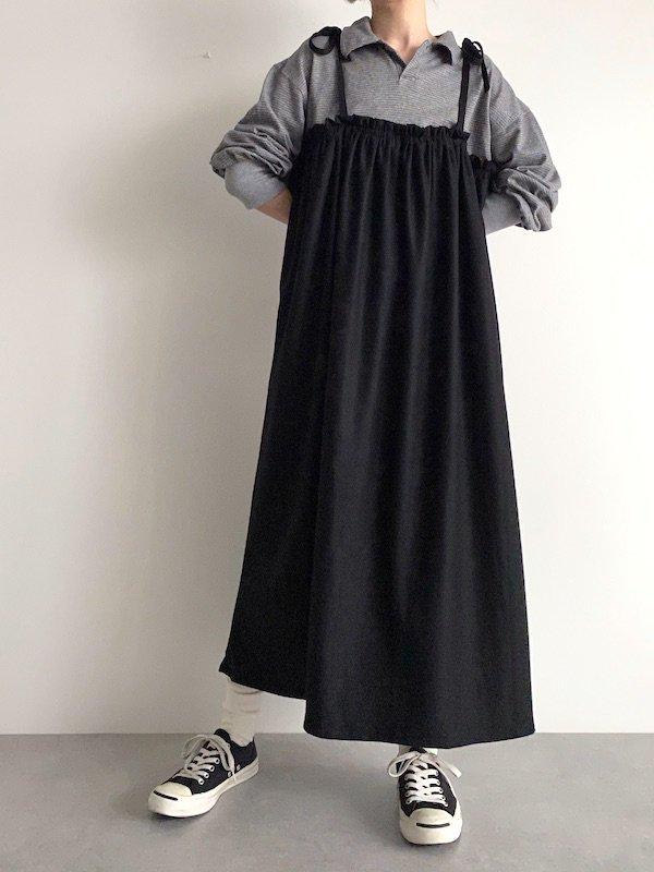 Remake  Knit  cami dress / リメイクニットキャミワンピース(GY/BK)
