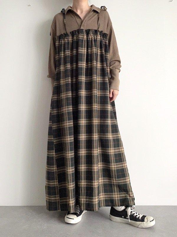 Remake  Knit  cami maxi dress / リメイクニットキャミマキシワンピース(BRN/GRN-check)