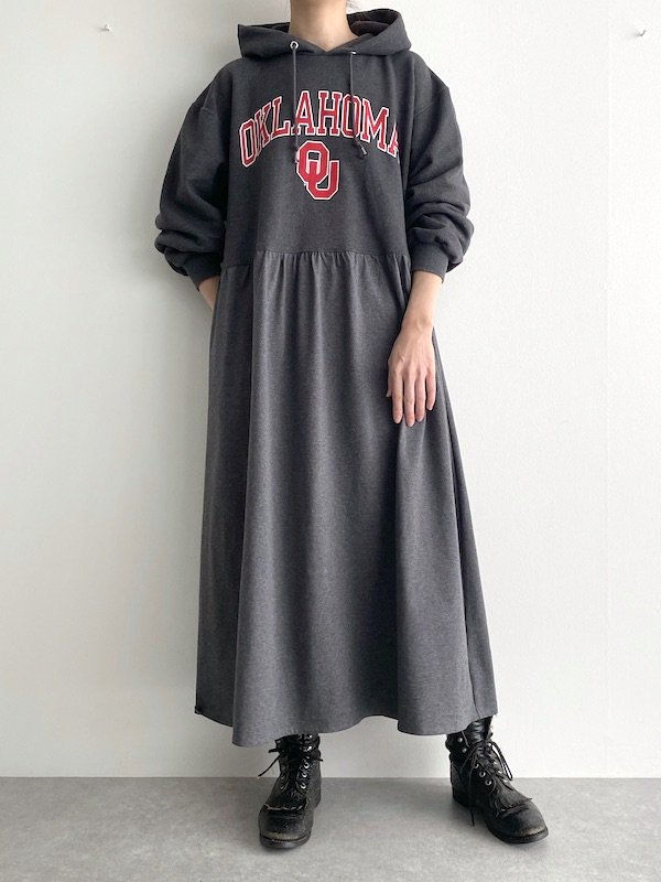 Remake foodie loose dress  / リメイクパーカーロングワンピース(D.gry)