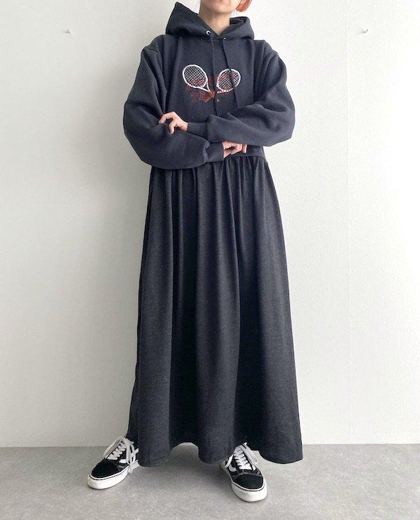 Remake maxi foodie loose dress  / リメイクパーカーマキシワンピース(Charcoal black)