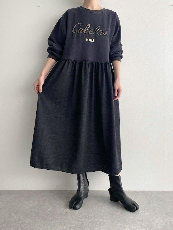 Remake  loose dress  / リメイクロングスウェットワンピース(Charcoal black)