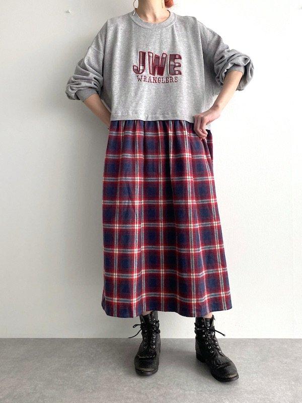 Remake  loose dress  / リメイクロングスウェットワンピース(Gr/check)