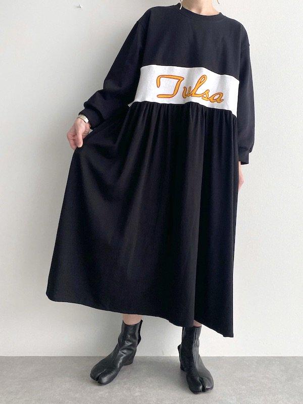 Remake  loose dress  / リメイクロングスウェットワンピース(Bk/wht)