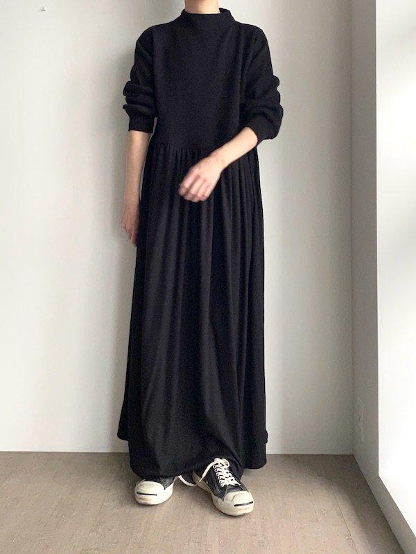 Remake knit maxi dress  / リメイク  マキシニットワンピース (Black)