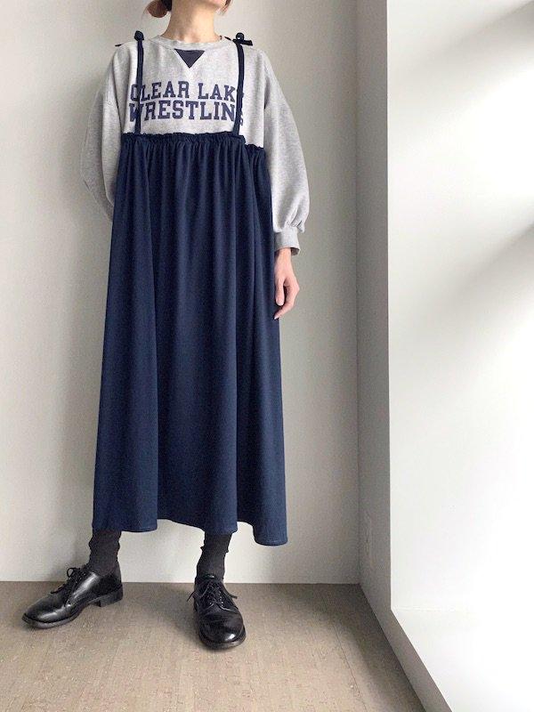 Remake cami long sweat dress  / リメイクキャミ スウェットワンピース(GRY/NV)