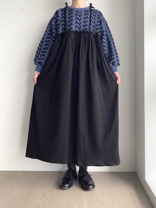 Remake cami long knit dress  / リメイクキャミ ニットワンピース(BL/BK)