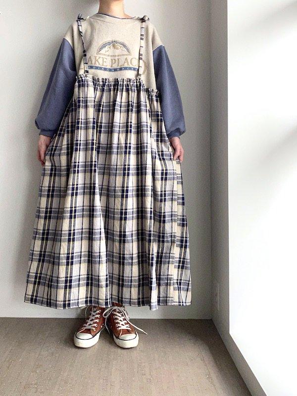 Remake cami long sweat dress  / リメイクキャミ スウェットワンピース(BE/NV)