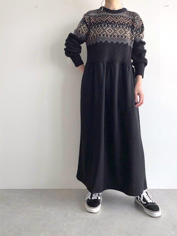 Remake knit maxi dress  / リメイク  マキシニットワンピース (BK/Nordic)