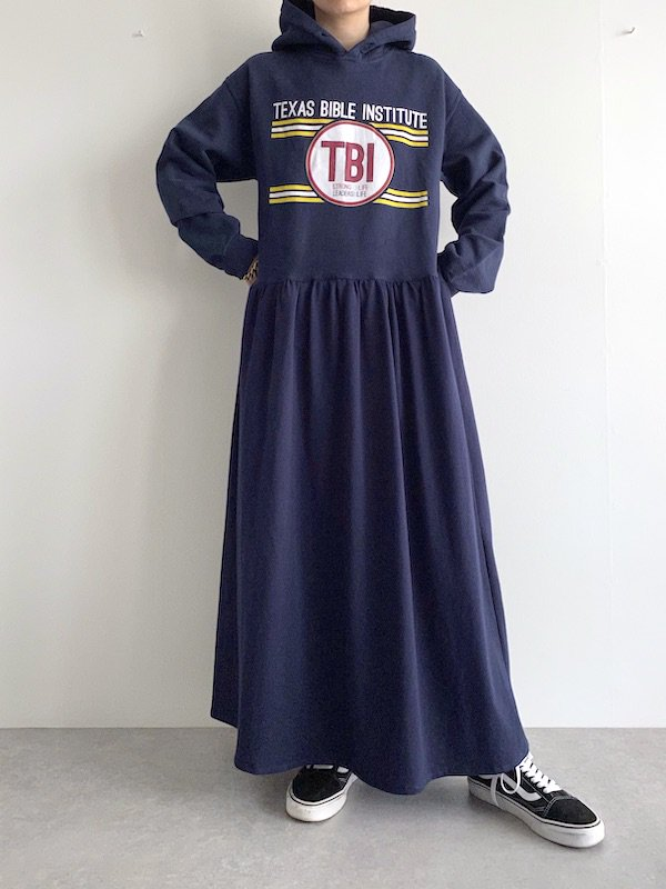 Remake foodie loose dress  / リメイクパーカーマキシワンピース(NAVY)