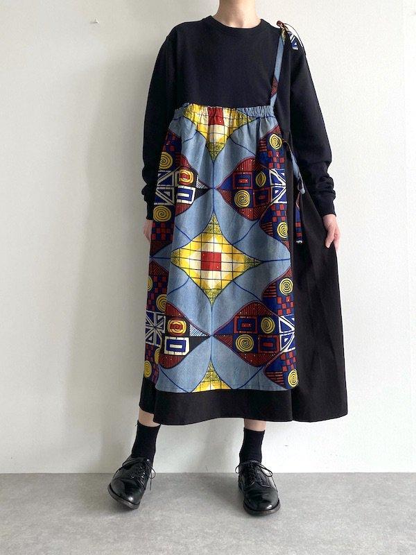 KICI - African Sweat apron Dress   /  アフリカンエプロンワンピース (BK)
