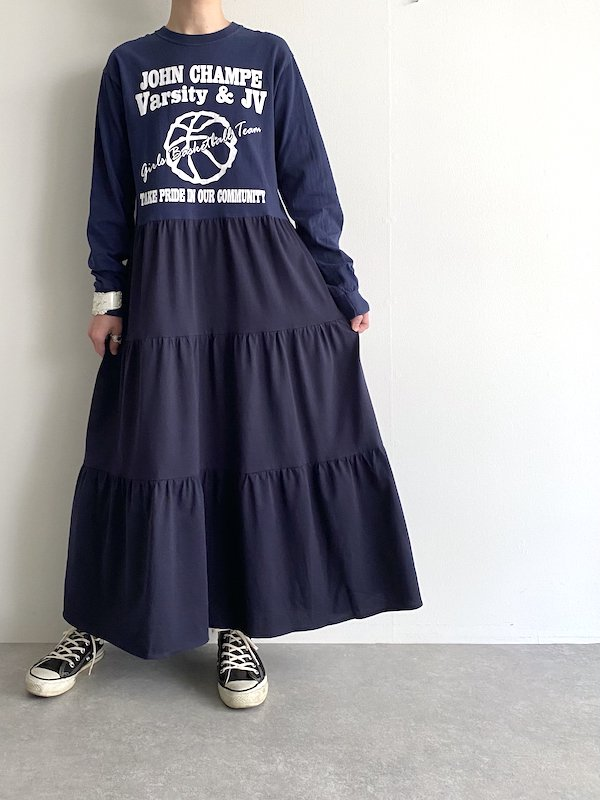 Remake tiered long dress  / リメイクティアードロングワンピース(NV)
