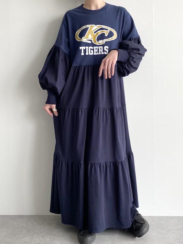 Remake tiered maxi dress  / リメイクティアードバルーン袖マキシワンピース(NV-KC)
