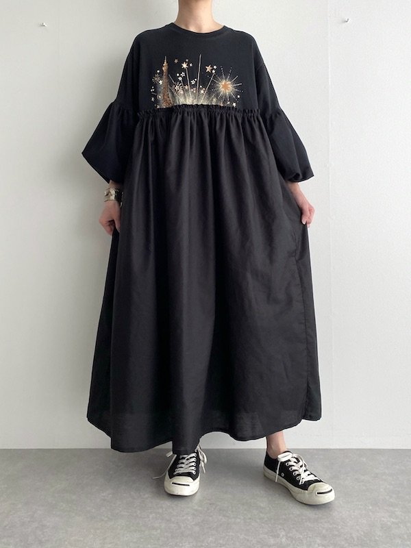 Remake Loose dress  / リメイクバルーン袖ルーズワンピース (Star)