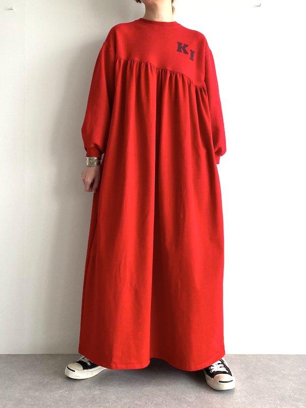 Remake  Bias Sweat Maxi Dress  / リメイクバイアススウェットマキシワンピース  (RED)