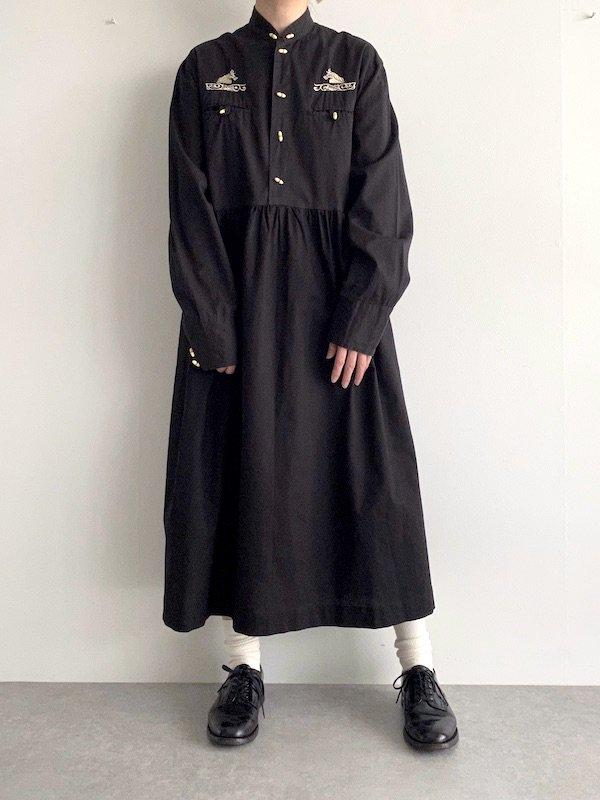Remake  shirt A line dress / リメイクシャツAラインワンピース(BK/horse)