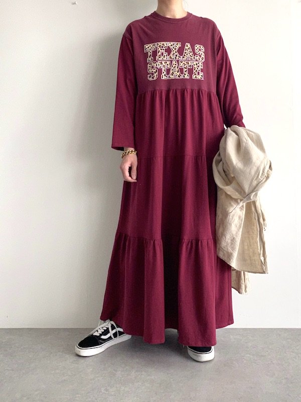 Remake tiered maxi dress  / リメイクティアードマキシワンピース(D.red)