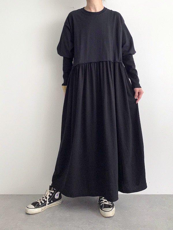KICI Long lib sleeve dress  / ロングリブスリーブワンピース(BK Solid)