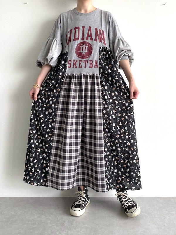 Remake asymmetry long dress  / リメイクアシンメトリーロングワンピース(GR.FLOWER)