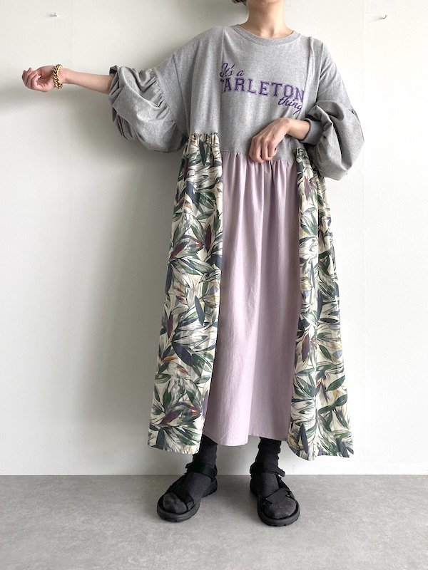 Remake asymmetry long dress  / リメイクアシンメトリーロングワンピース(LV)