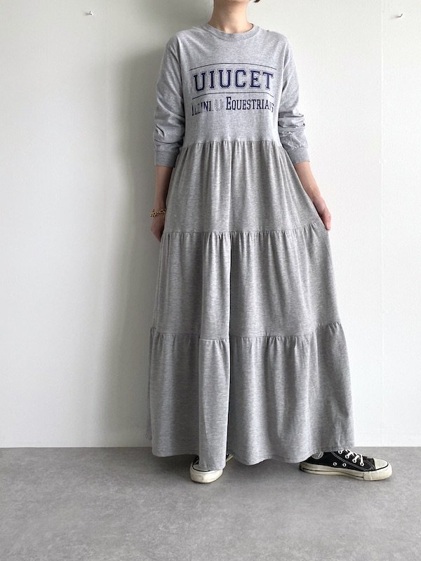 Remake tiered maxi dress  / リメイクティアードマキシワンピース(GY/B-LOGO)